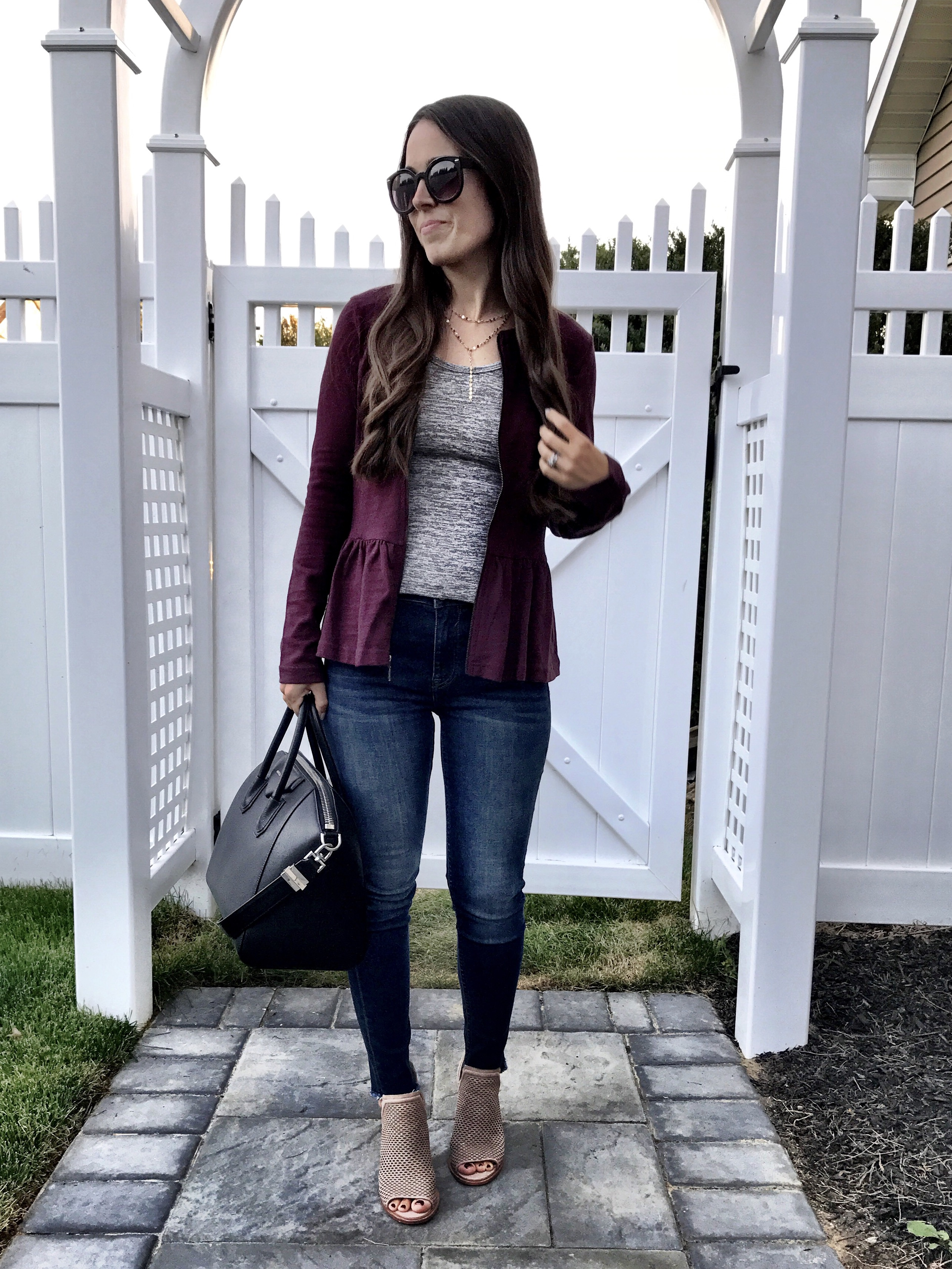 Burgundy Peplum Jacket | MrsCasual