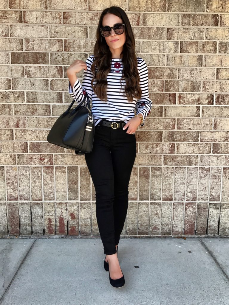 striped embroidered top outfit