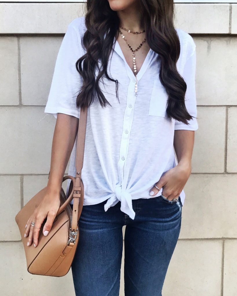 white tie front button down tee